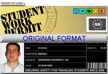 STUDENT WORK PERMIT DRIVER LICENSE ORIGINAL FORMAT, DESIGN SPECIFICATIONS, NOVELTY SECURITY CARD PROFILES, IDENTITY, NEW SOFTWARE ID SOFTWARE